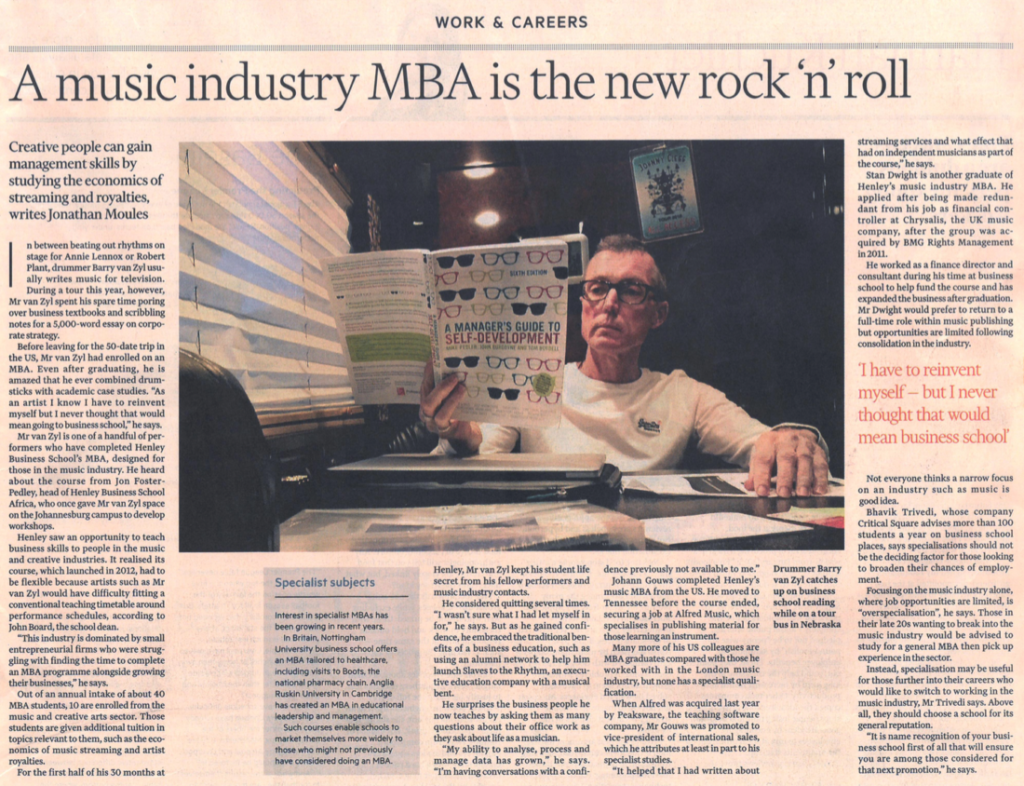 Financial Times - A Music Industry MBA is the New Rock n Roll 1